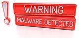 Warning Malware Detected - 3d banner, isolated on white backgrou