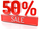50% sale, 50 percent, 3d discount banner - isolated, on white ba