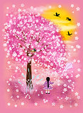 Little girl and flowering tree