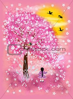 Little girl and flowering tree