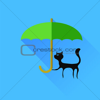 Black Cat and Green Umbrella