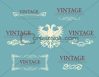 Calligraphic design elements. Baroque vintage set