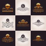 Luxury logo set. Calligraphic pattern elegant decor elements. Vintage vector ornament