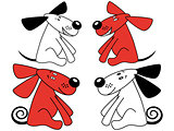 Red and white amusing dogs