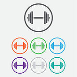 Sports gym equipment. Dumbbell - Vector icon isolated. Round buttons with frame. Vector