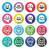 Halloween scary ghost, spirit flat design icons set