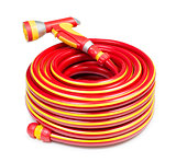 Red garden coiled hose with handle isolated
