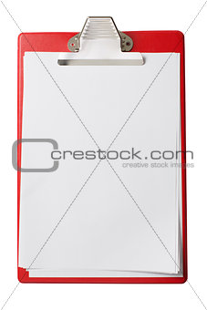 clipboard with blank sheets of paper isolated with clipping path