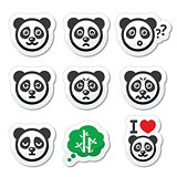 Panda bear icons set - happy, sad, angry isolated on white