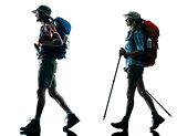 couple trekker trekking walking nature silhouette