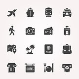 Traveling and transport icon set.