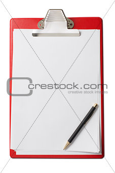 clipboard with blank paper sheets and pen isolated