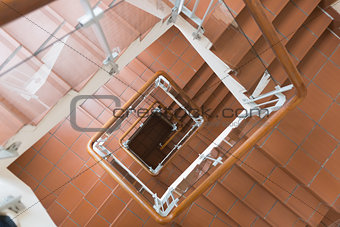 Top angle view of staircase