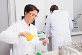 Scientists working attentively with test tube and computer