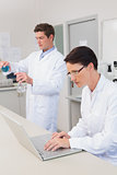 Scientist working attentively with laptop and another with beaker