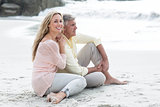 Happy couple sitting on the sand