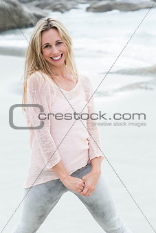 Smiling blonde looking at camera