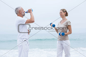Fit couple doing sport