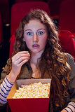 Surprised young woman watching a film
