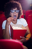 Surprised young woman watching a 3d film