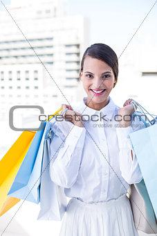 Beautiful brunette holding shopping bags