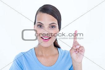 Beautiful brunette woman having an idea