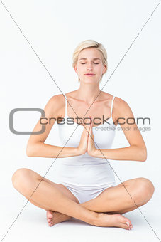 Fit woman doing yoga