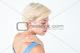 Casual woman with neck pain
