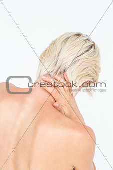 Attractive woman suffering from neck pain