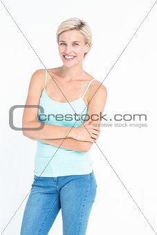 Beautiful blonde woman smiling at camera