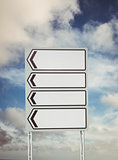 Signpost arrows with copy space
