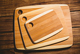Chopping boards on wooden table