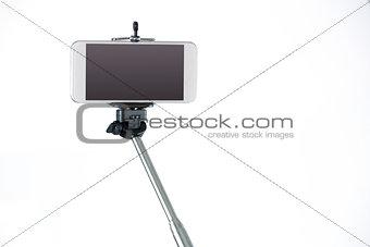 Smartphone on a selfie stick
