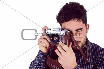 Casual man taking a photo