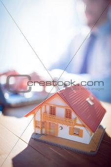 Estate agent using laptop at desk