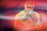 Composite image of muscular boxer