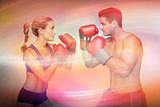 Composite image of boxing couple