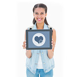 Composite image of pretty student showing her tablet pc