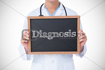 Diagnosis against doctor showing little blackboard
