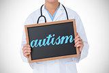 Autism against doctor showing little blackboard
