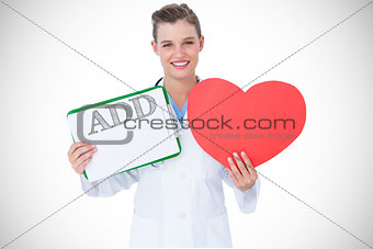 Add against happy doctor holding clipboard and heart card