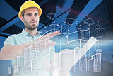 Composite image of architect with blueprint gesturing on white background