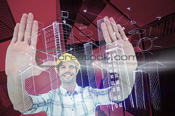 Composite image of architect forming hand frame