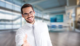 Composite image of happy businessman with glasses offering handshake