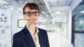 Composite image of happy businesswoman