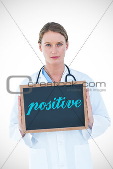 Positive against doctor showing chalkboard