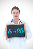Health against doctor showing chalkboard
