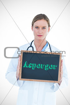 Asperger against doctor showing chalkboard