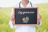 Dyspraxia against green meadow