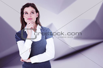 Composite image of thoughtful blonde woman with hand on chin